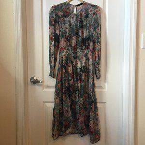 Zara Floral Print Sheer Midi Dress with Slip